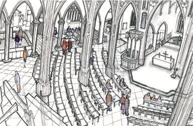 Artist's impression of church with pews removed